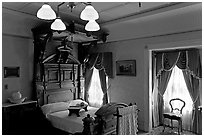 Room where Mrs Winchester died. Winchester Mystery House, San Jose, California, USA ( black and white)