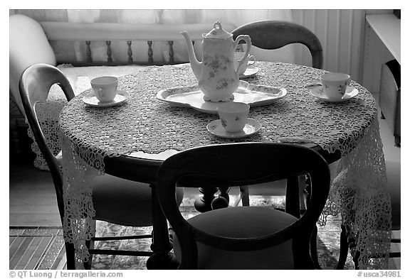 Dining table. Winchester Mystery House, San Jose, California, USA (black and white)