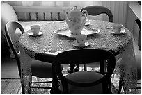 Dining table. Winchester Mystery House, San Jose, California, USA ( black and white)