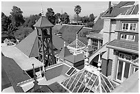 Rooftops. Winchester Mystery House, San Jose, California, USA ( black and white)