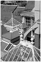 Roofs of some of the 160 rooms. Winchester Mystery House, San Jose, California, USA ( black and white)