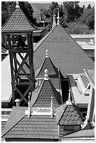 Rooftop detail. Winchester Mystery House, San Jose, California, USA ( black and white)