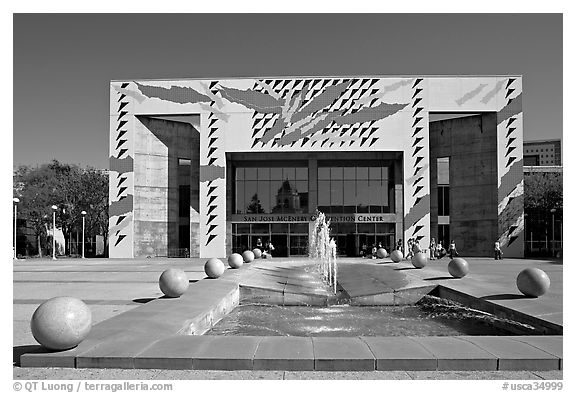 San Jose McEnery convention center with fountain in 2006. San Jose, California, USA (black and white)