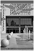 McEnery convention center and reflection of San Jose Civic Auditorium. San Jose, California, USA ( black and white)