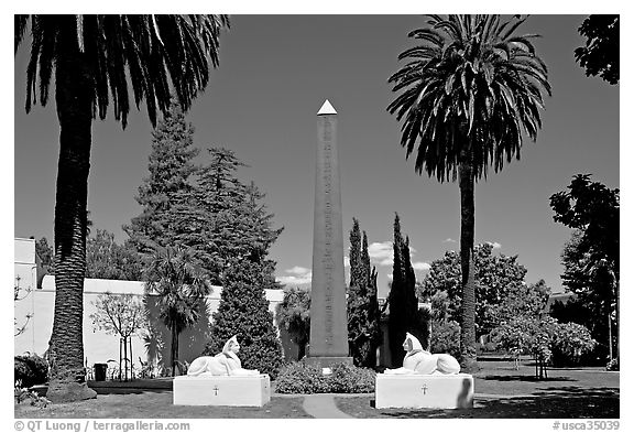 Sphynx and Obelisk, Rosicrucian Park. San Jose, California, USA (black and white)