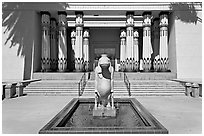Statue of hippopotamus Taweret and  Rosicrucian Museum. San Jose, California, USA ( black and white)