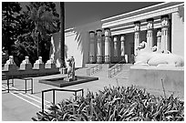 Egyptian Museum at Rosicrucian Park. San Jose, California, USA ( black and white)