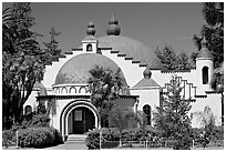 Planetarium in moorish style, Rosicrucian Museum. San Jose, California, USA ( black and white)