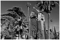 Tower Hall and trees, San Jose State University. San Jose, California, USA (black and white)