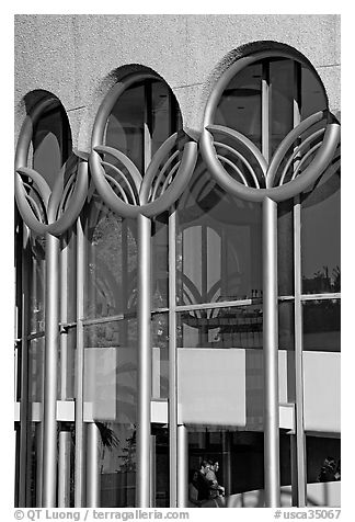 Center for performing arts detail. San Jose, California, USA (black and white)
