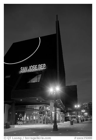 San Jose Rep Theatre at dusk. San Jose, California, USA (black and white)