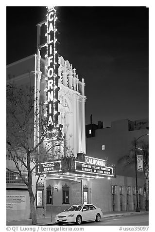 California Theater at night. San Jose, California, USA (black and white)