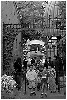 Hispanic family, San Pedro Square. San Jose, California, USA (black and white)