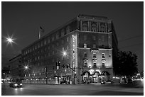 Hotel Sainte Claire at night. San Jose, California, USA (black and white)