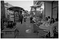 Outdoor dining, Castro Street, Mountain View. California, USA (black and white)