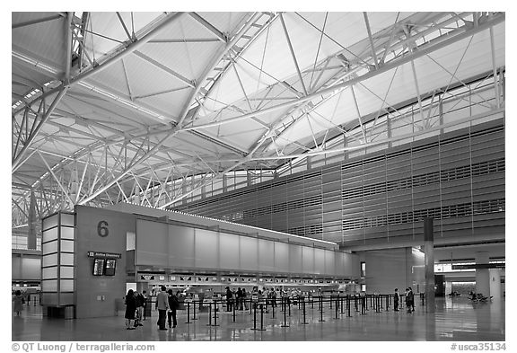 San Francisco International Airport interior. California, USA (black and white)