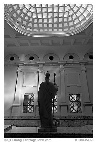 Main hall inside Cantor Center. Stanford University, California, USA (black and white)