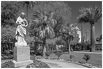 Statue, palm trees, and mission, Santa Clara University. Santa Clara,  California, USA (black and white)