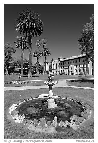 Fountain and lawn near mission, Santa Clara University. Santa Clara,  California, USA (black and white)