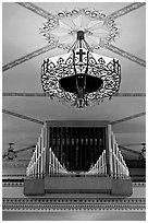 Organ and lamp, Mission Santa Clara de Asis. Santa Clara,  California, USA ( black and white)