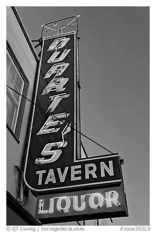 Neon sign for Duarte Tavern, Pescadero. San Mateo County, California, USA (black and white)