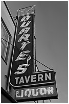 Neon sign for Duarte Tavern, Pescadero. San Mateo County, California, USA ( black and white)
