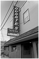 Duarte Tavern at dusk, Pescadero. San Mateo County, California, USA ( black and white)