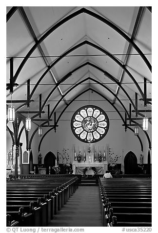 Interior of Church of the Nativity. Menlo Park,  California, USA (black and white)