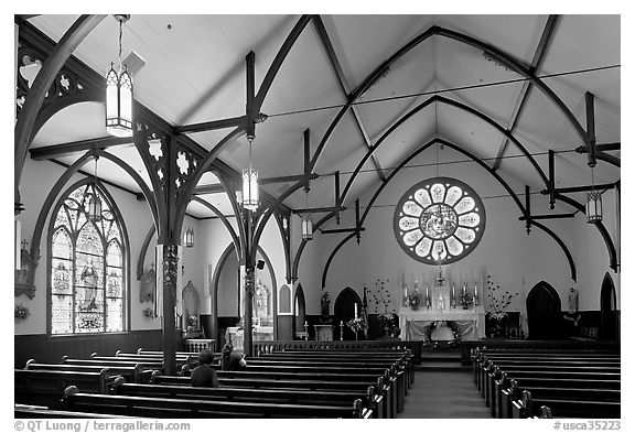 Nativity Church Interior and stained glass. Menlo Park,  California, USA (black and white)