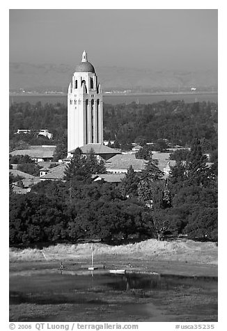 Hoover Tower, Campus, and Lake Lagunata, afternoon. Stanford University, California, USA (black and white)