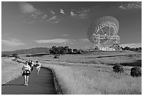People running in the Stanford Dish area. Stanford University, California, USA (black and white)