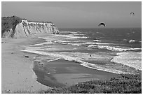 Beach and kite surfers from above, Scott Creek Beach. California, USA ( black and white)