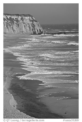 Waves and cliffs, Scott Creek Beach. California, USA (black and white)
