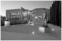 Rodin sculpture garden and Cantor Art Center, dusk. Stanford University, California, USA ( black and white)