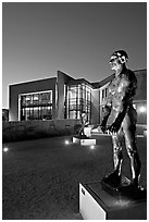 Rodin sculpture and Cantor Museum at night. Stanford University, California, USA (black and white)