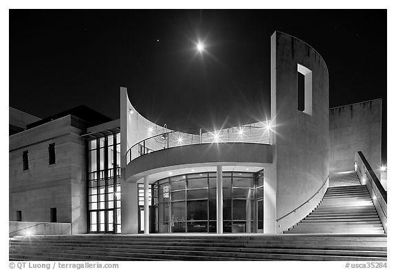 Iris and  Gerald Cantor Center for Visual Arts at night with moon. Stanford University, California, USA (black and white)