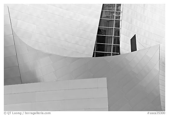 Steel curves, Walt Disney Concert Hall. Los Angeles, California, USA (black and white)