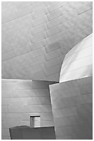Steel Facade detail, Walt Disney Concert Hall. Los Angeles, California, USA (black and white)