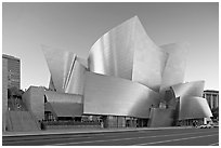 Walt Disney Concert Hall, designed by Frank Gehry, late afternoon. Los Angeles, California, USA (black and white)