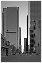 Skyscrapers along Grand Avenue, late afternon. Los Angeles, California, USA (black and white)