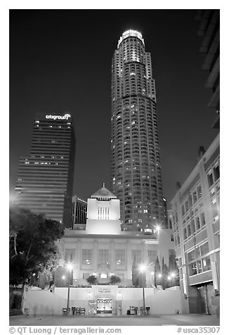 Los Angeles public library and US Bank building at night. Los Angeles, California, USA (black and white)