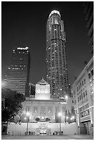 Los Angeles public library and US Bank building at night. Los Angeles, California, USA ( black and white)