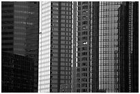 Close-up of high-rise buildings facades. Los Angeles, California, USA (black and white)