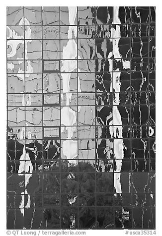 Reflections in a high-rise glass building. Los Angeles, California, USA (black and white)