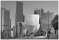 Walt Disney Concert Hall and high rise towers. Los Angeles, California, USA (black and white)