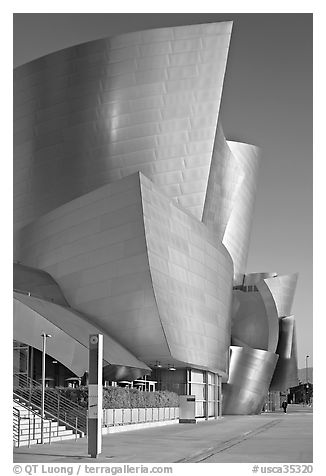 Silvery architecture of the Walt Disney Concert Hall, early morning. Los Angeles, California, USA (black and white)