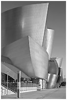 Silvery architecture of the Walt Disney Concert Hall, early morning. Los Angeles, California, USA ( black and white)