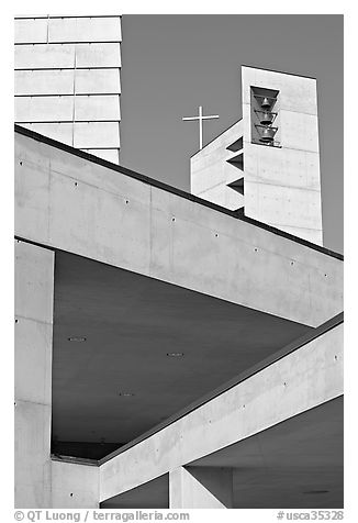 Belltower of Cathedral of our Lady of the Angels. Los Angeles, California, USA (black and white)