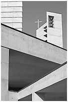 Belltower of Cathedral of our Lady of the Angels. Los Angeles, California, USA ( black and white)