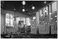 Main nave of the Cathedral of our Lady of the Angels. Los Angeles, California, USA ( black and white)